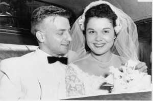 Joseph and Arlene (DeBonis) Motter after their wedding ceremony on August 22, 1953.